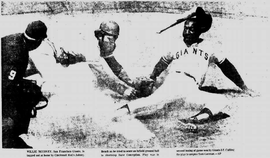 June 29, 1972: Giants 3,  Reds 2. Once up a time there were trees beyond the center field fence at Candlestick Park. It was into those trees that Bench and Perez launched back-to-back 425-foot home runs in the fourth inning of this game -- a jaw-dropping display of power by a team bound for 3 of the next 5 World Series. It was hard to believe that was all the Reds would get off Jim Barr, who threw a complete game in his 2nd ML start. The Reds probably had trouble believing it, too.