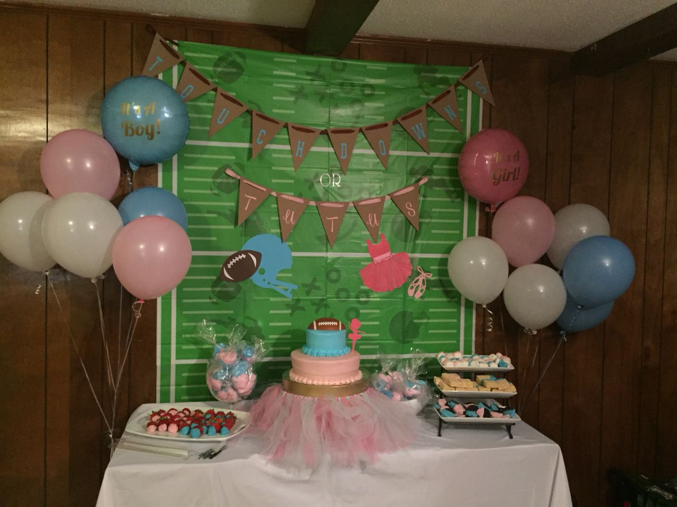 Touchdowns Or Tutus Sweets Table Football Gender Reveal Party Tutus Gender Reveal Gender Reveal Party Invitations