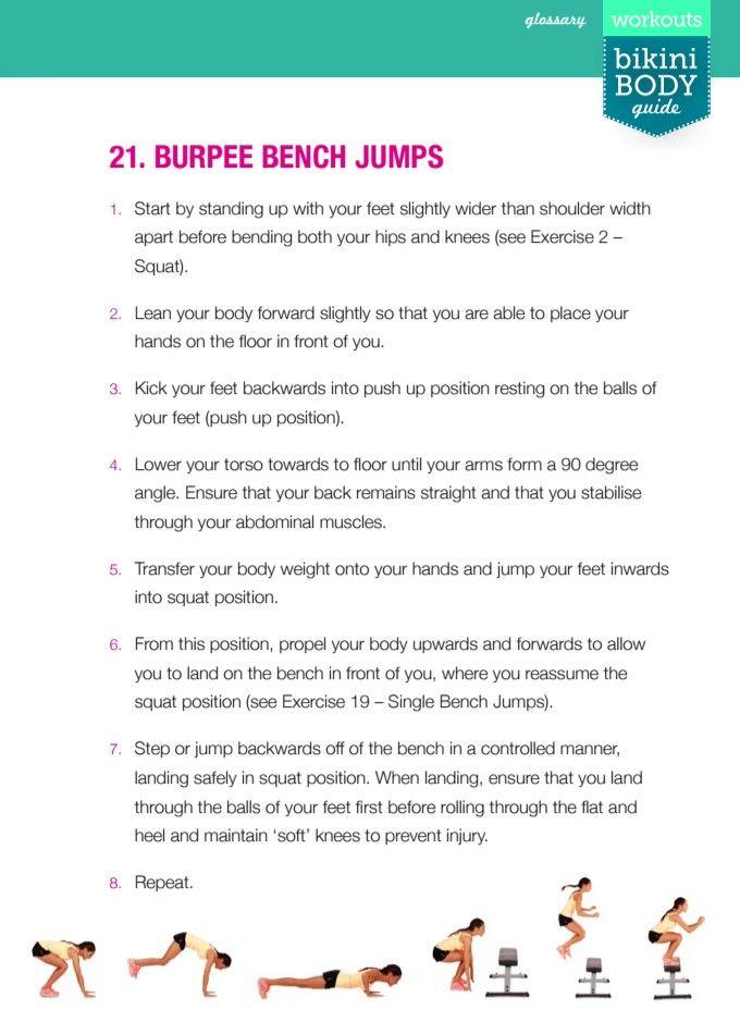 Burpee Bench Jumps BBG Exercise Glossary Pinterest Bbg and - 2 1 degree