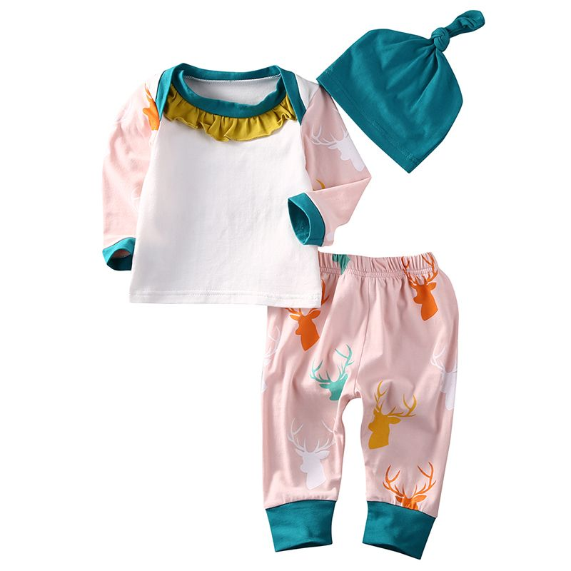 2d8d035a6932 Cute Newborn Baby Girl Boy Clothes Infant Bebes Deer Suit Tops T ...
