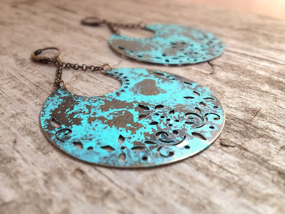 Turquoise Patina Moon Earrings - Exotic Bohemian Jewelry - Bohemian Jewelry - by TesoroDelSol on Etsy