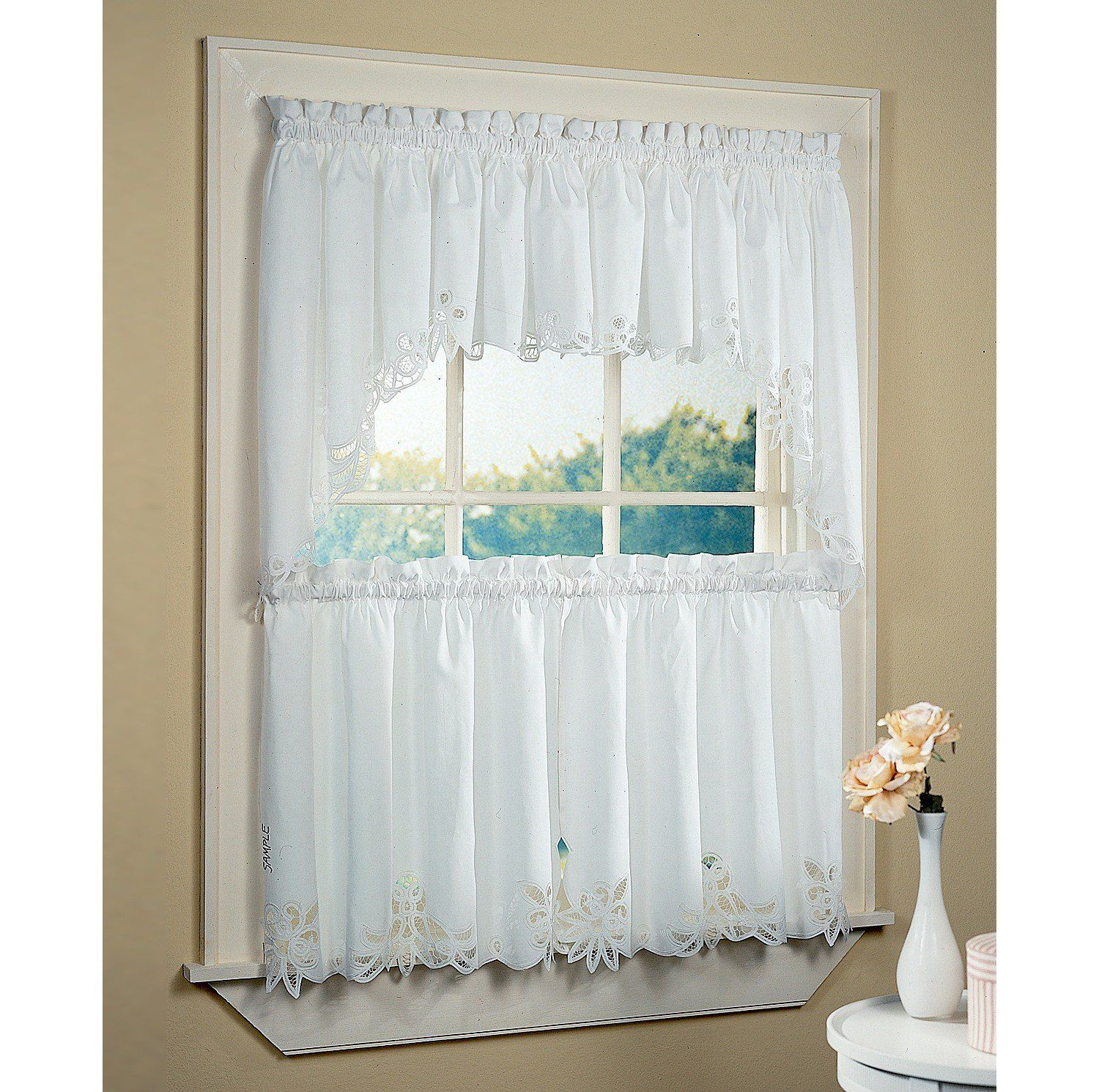 Kitchen Half Window Curtains With White Color