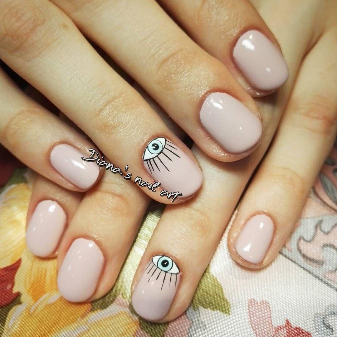 Gel polish manicure with the turkish eye nail art :) #nails ...