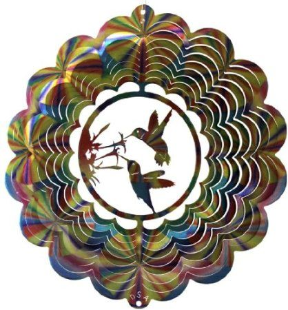 Amazon.com: Stainless Steel Double Hummingbird 12 Inch Wind Spinner, Multi-Color 1: Everything Else