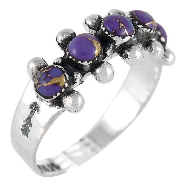 Sterling Silver Ring Purple Turquoise R2241-C77