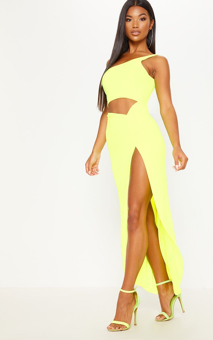 Neon yellow slinky ruched midi dress prettylittlething stuff to