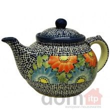 hand painted polish pottery teapot