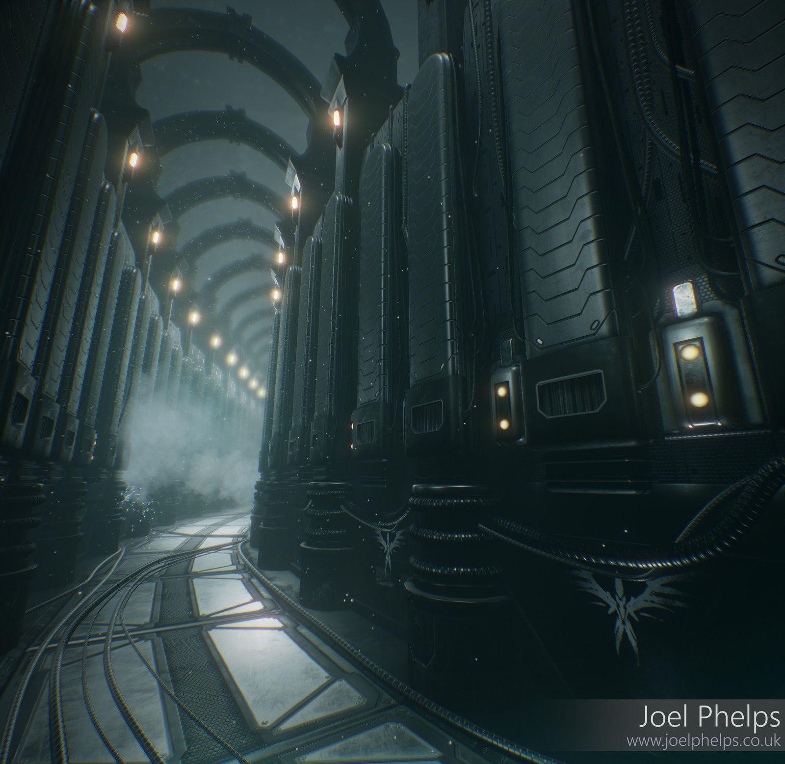 Alien Corridor, Joel Phelps on ArtStation at https://www.artstation.com/artwork/518rw