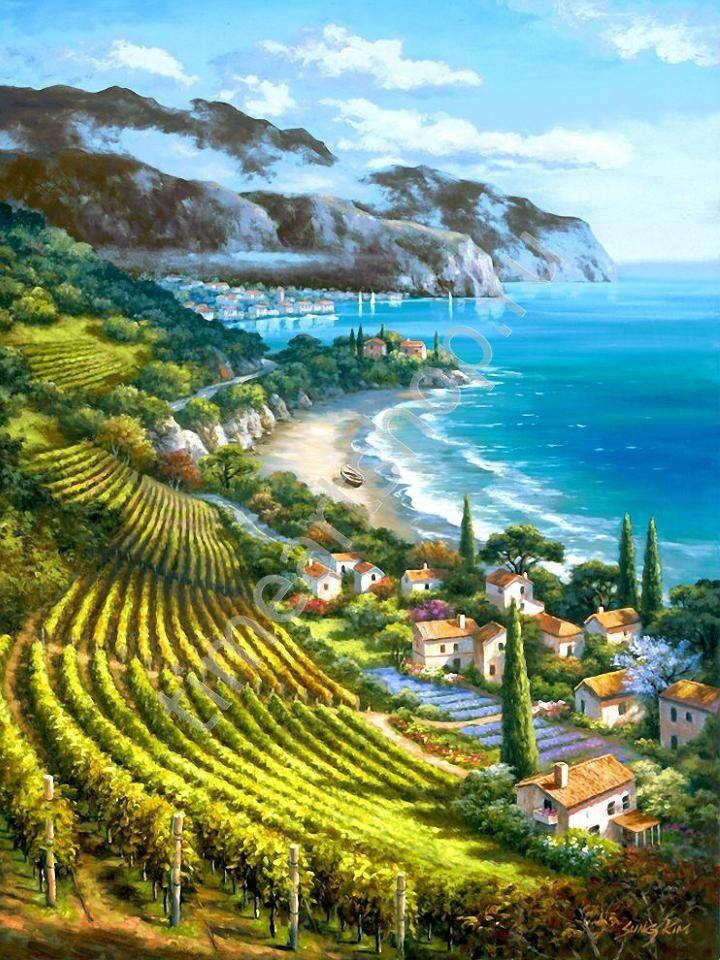 Красота морского побережья, картины раскраски по номерам ...