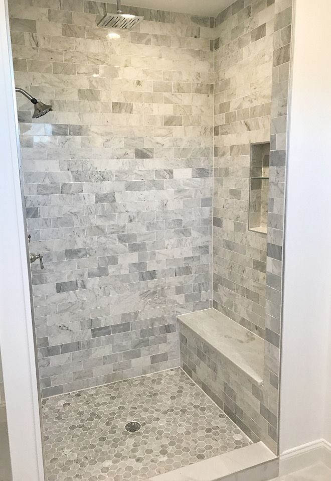 Shower Tile Shower Tile Ideas Shower floor is Carrara marble hexagon ...