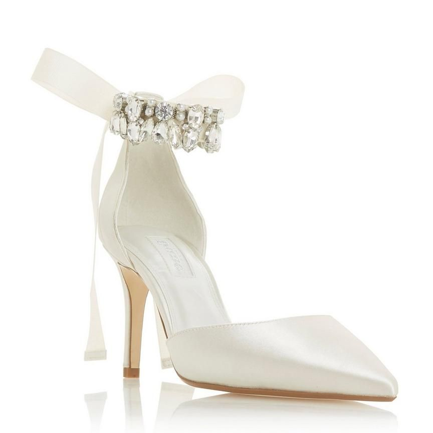 f2b904b5446a CHURCH - Diamante Ankle Strap Heel - ivory