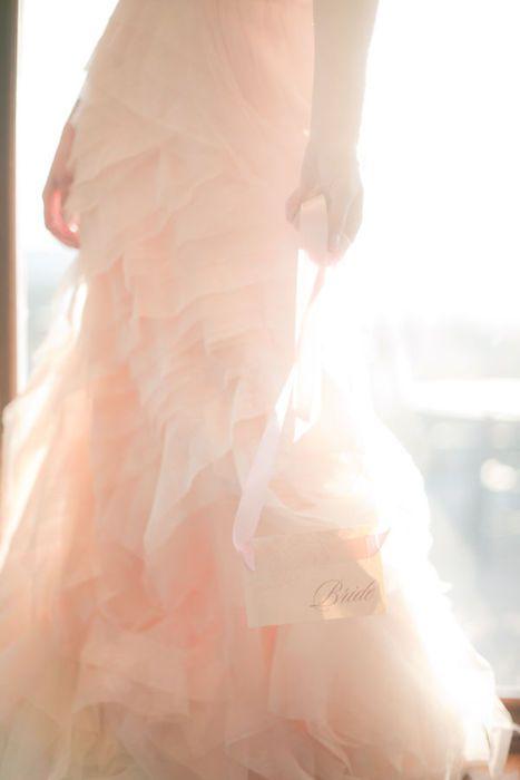 blush color wedding dress