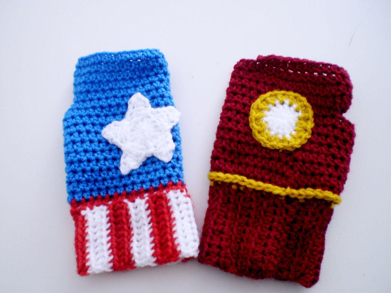 Superhero Fingerless Gloves Iron Man Or Captain By Zukkablu Fingerless Gloves Mitten Gloves Etsy