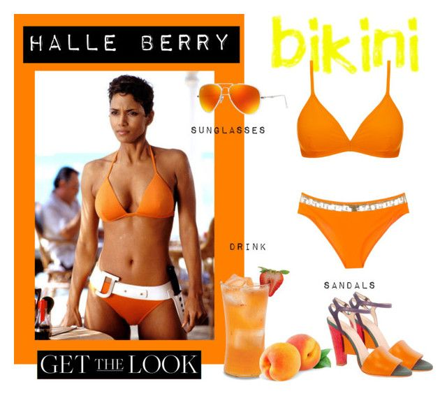 Halle Berry Orange Bikini