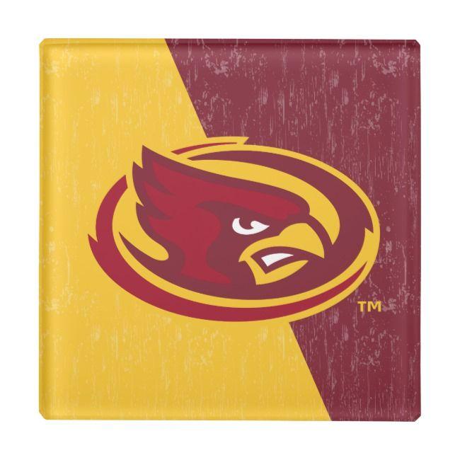 Iowa State University Distressed Block Design Glass Coaster