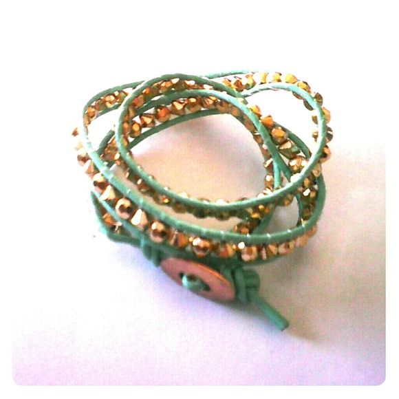 Green Leather Infinite Bracelet NWOT, double or triple wrap around wrist, buckle fastener, leather band. Mint Green with gold beads. Scorpio Jewelry Bracelets