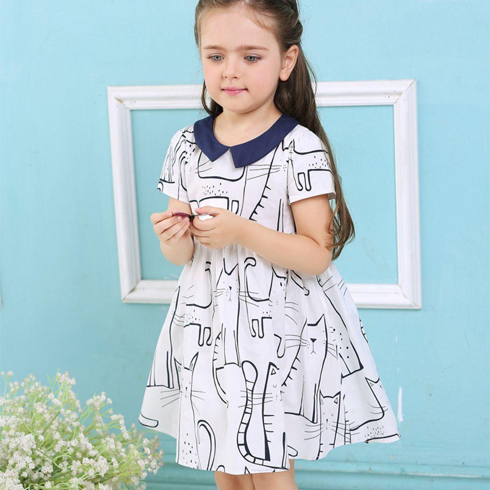 Baby Girls Dress Summer Cartoon Animals Cat Princess Cotton Short ...