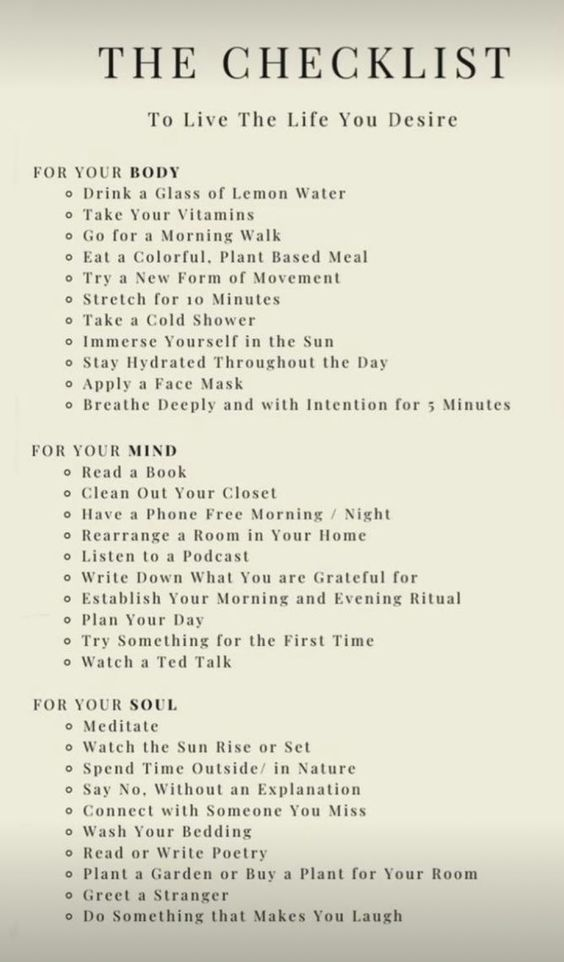 Checklist- To live the life you desire