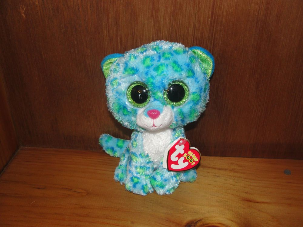 4b3fdeb08b7 Ty Beanie Boo Leona Blue Leopard Mint with Tags NEW! 2014 release