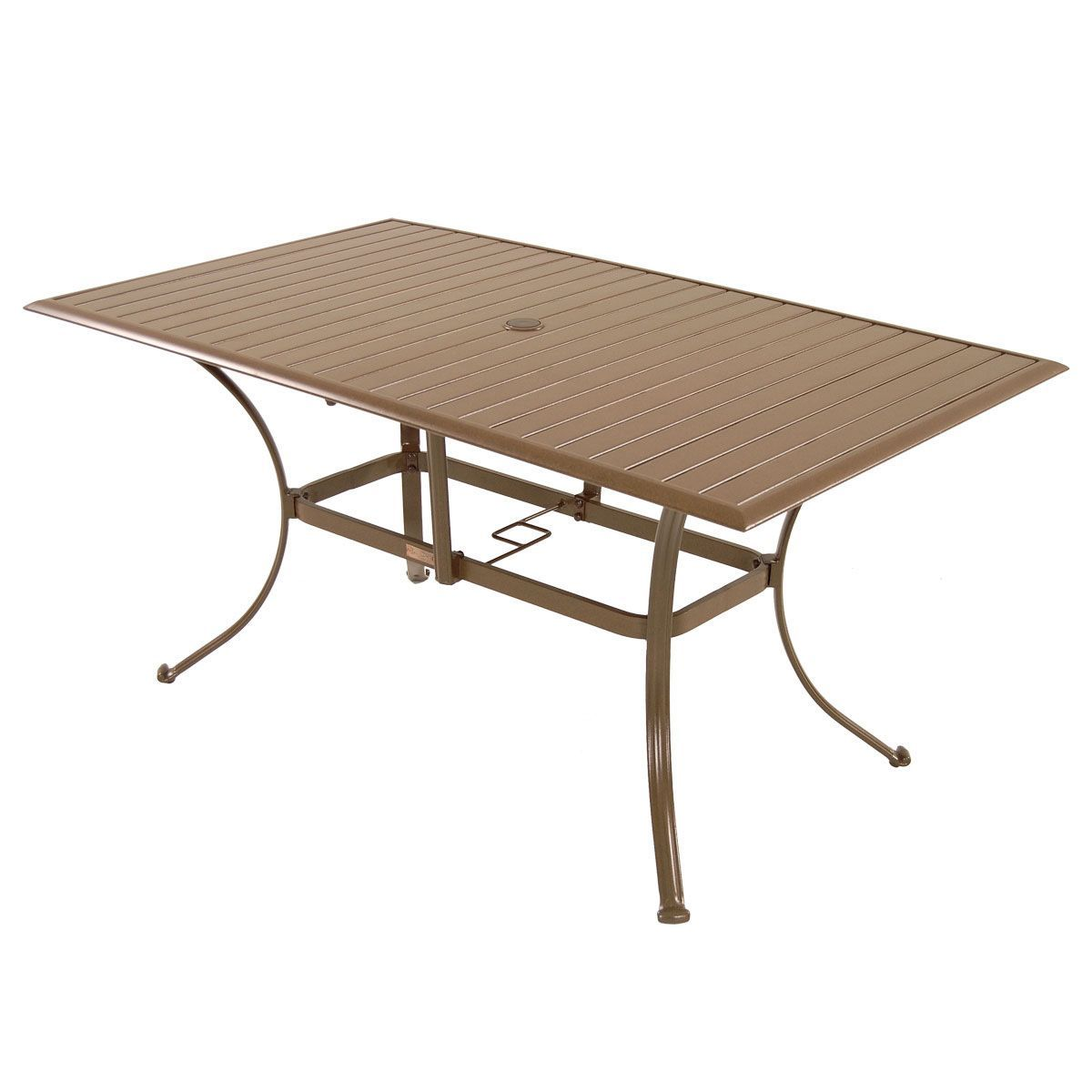 The Island Breeze dining table features a convenient umbrella hole to offer additional sun protection while enjoying a meal outdoors. Crafted with powder-coated aluminum, this contemporary Panama Jack table boasts a rich espresso finish.