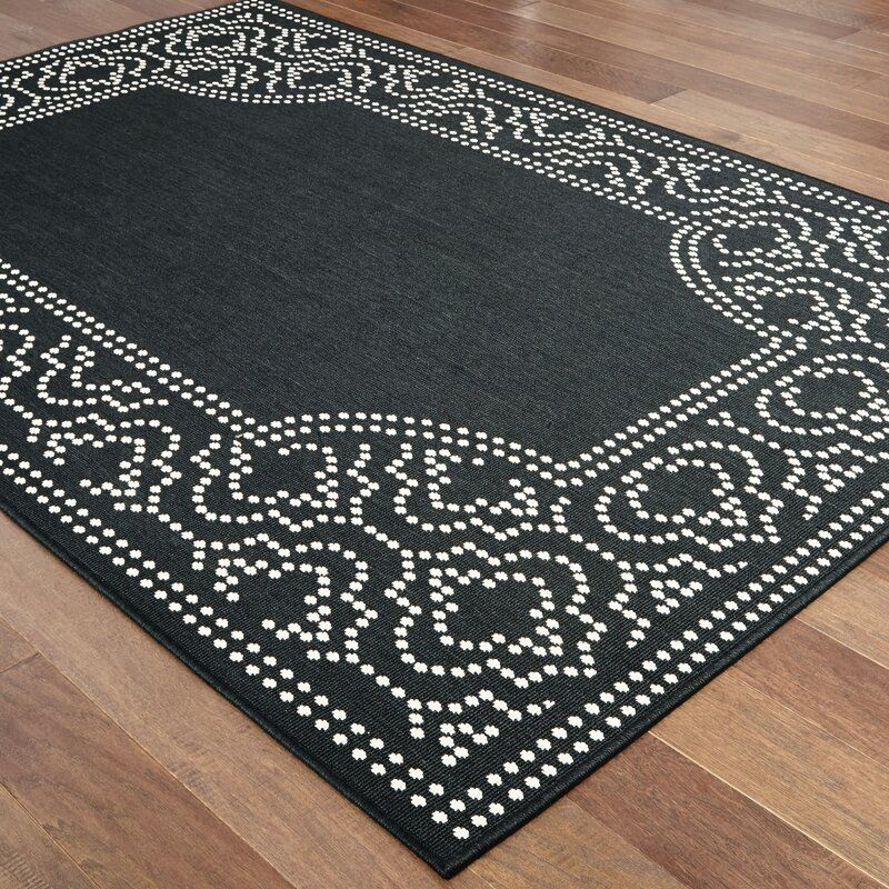 Salerno Hooked Black Indoor Outdoor Area Rug Area Rugs Indoor Outdoor Area Rugs Rugs
