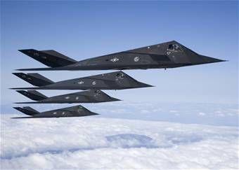 USAF's F-117 Blackbird Fighter Planes....