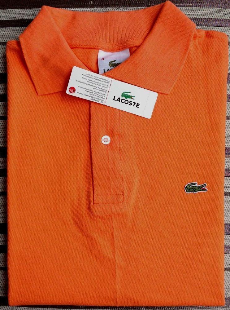 Lacoste Men S Polo Shirt Cotton Size 4 5 6 Orange Color Fashion
