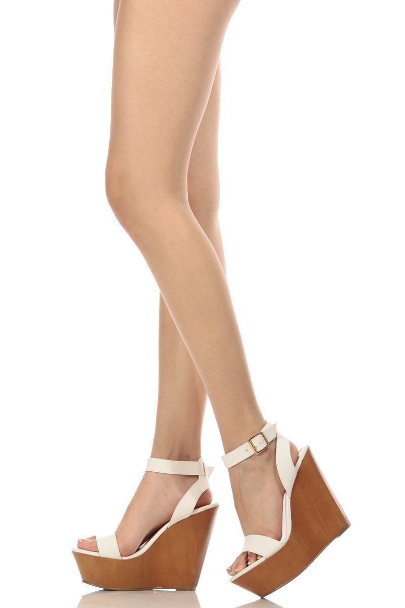 fd3dd3a99 White Faux Leather Wooden Ankle Strap Wedges   Cicihot Wedges Shoes  Store Wedge Shoes