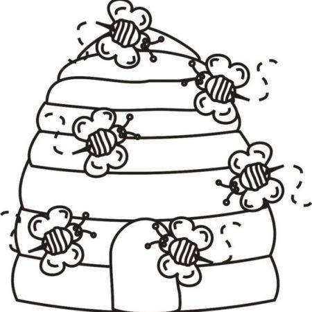 bee-home-coloring-page coloringpagesfortoddlers.com | Ilustraciones ...