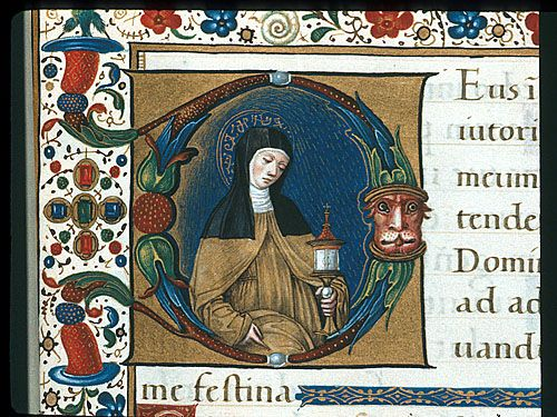 Saint Clare from the 'Hours of Bonaparte Ghislieri', c1500, Bologna, Italy