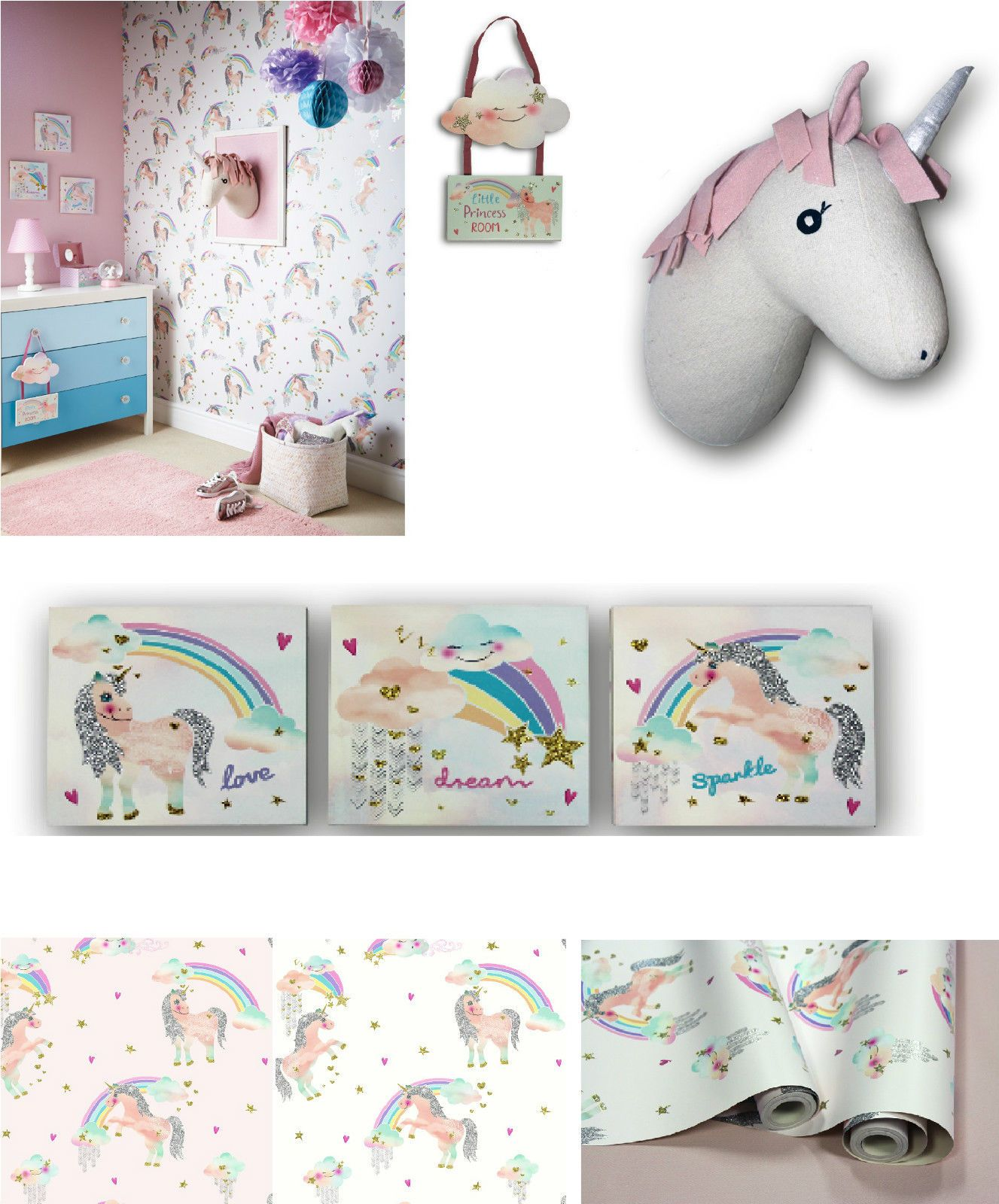 Details About Rainbow Unicorn Pretty Bedroom Room Glitter Wallpaper Matching Accessories Glitter Wallpaper Glitter Room Unicorn Nursery Ideas