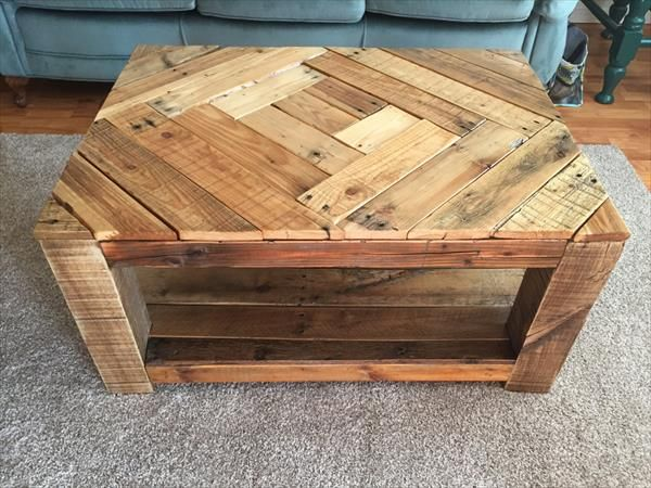 Free standing pallet shelves google search art gallery for Pallet coffee table instructions