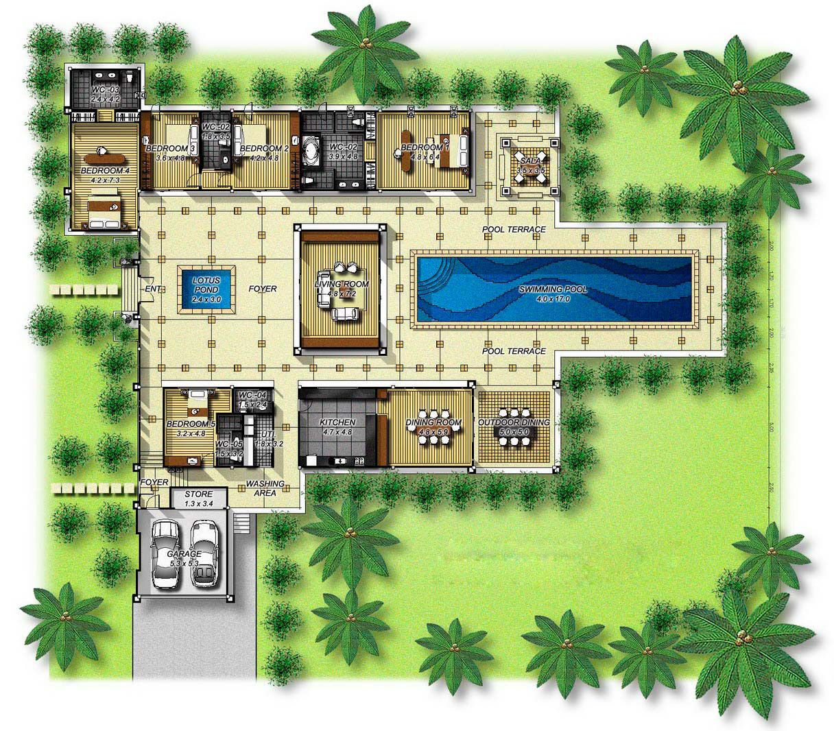 House plans with courtyards in the center central for Garden pool plans
