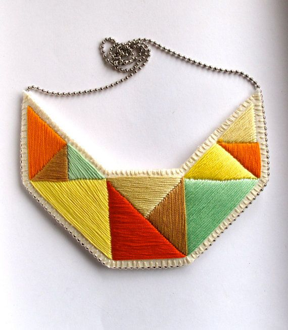 Embroidered jewelry bib necklace in mint bright yellows tan and orange geometric design
