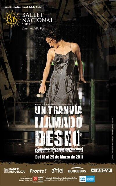 Afiche Un tranvia llamado deseo 2011, primera puesta de Bocca para el BNS