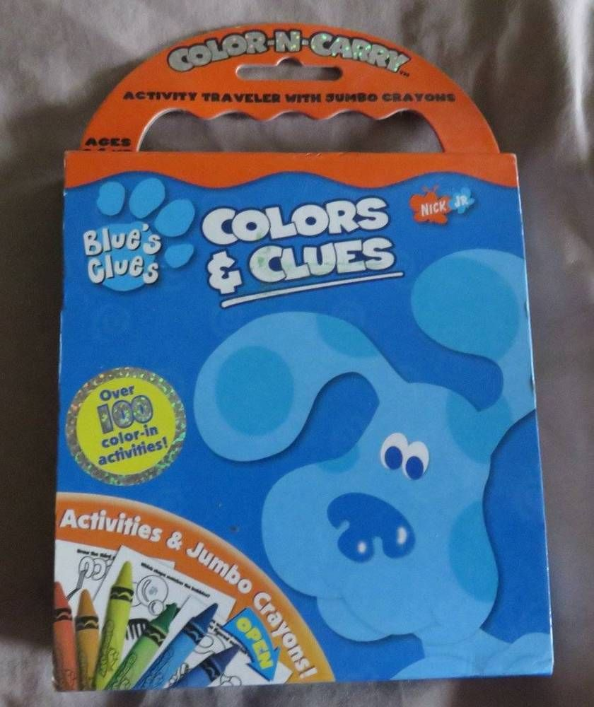- SOLD*** Vintage BLUES CLUES Color N Carry Activity Book Used Jumbo