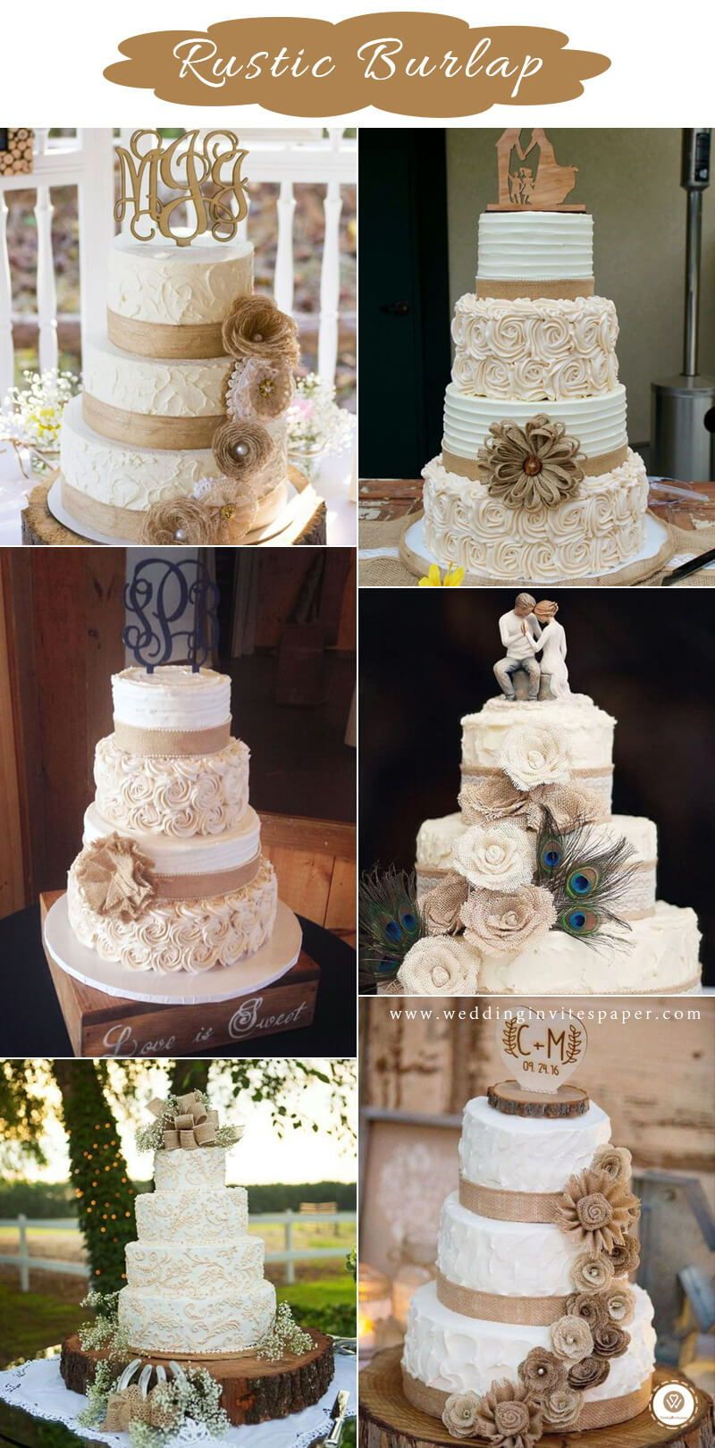 12 Trendiest Ways To Throw Together A Rustic Wedding Cake Wedding Cake With Burlap Country Wedding Cakes Burlap Wedding Cake Rustic Burlap Wedding Cakes