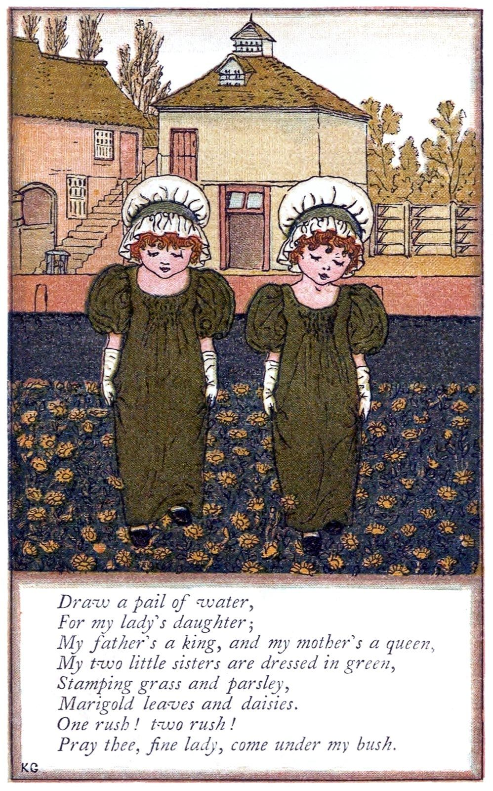 Pray thee, fine lady, come under my bush.  Kate Greenaway, from Mother Goose, London, New York, 1881.  *