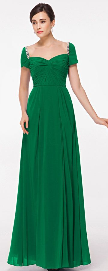 Modest Emerald Green Evening Dress With Sleeves Abiballkleider