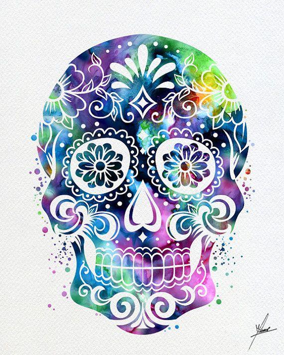 020784599 Sugar Skull Day Watercolor Illustrations Art Print Poster Handmade Wall  Decor Art Home Decor Wall Ha