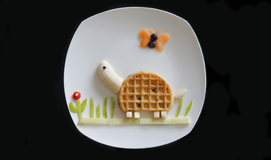 Hurry Up And Eat Me Before I Get Away Waffle What You'll Need:  A waffle A banana A blueberry Fruits for decorating