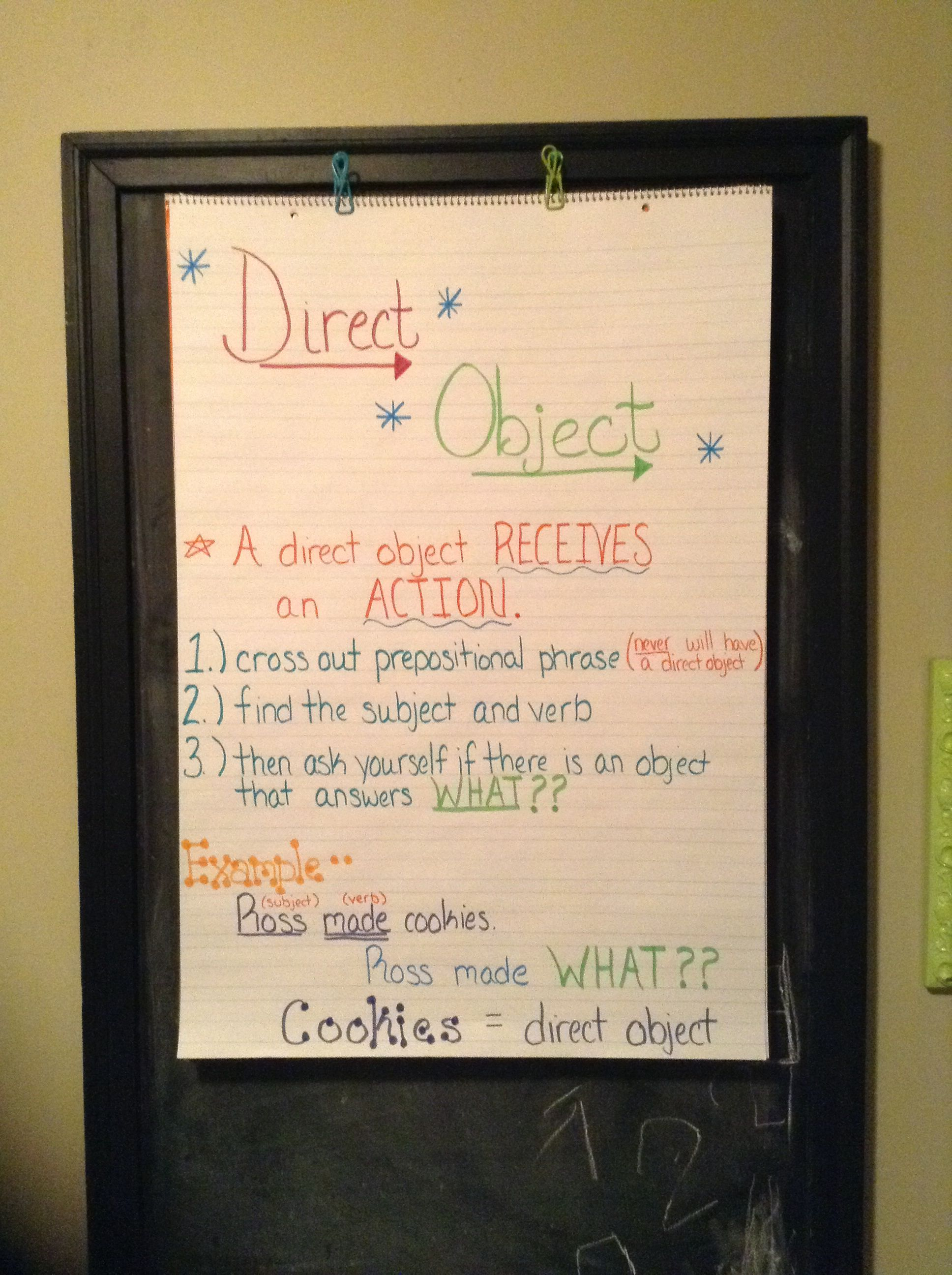 Direct Object Poster Ela Anchor Charts Middle School Lesson Plans High School Language Arts [ 2592 x 1936 Pixel ]