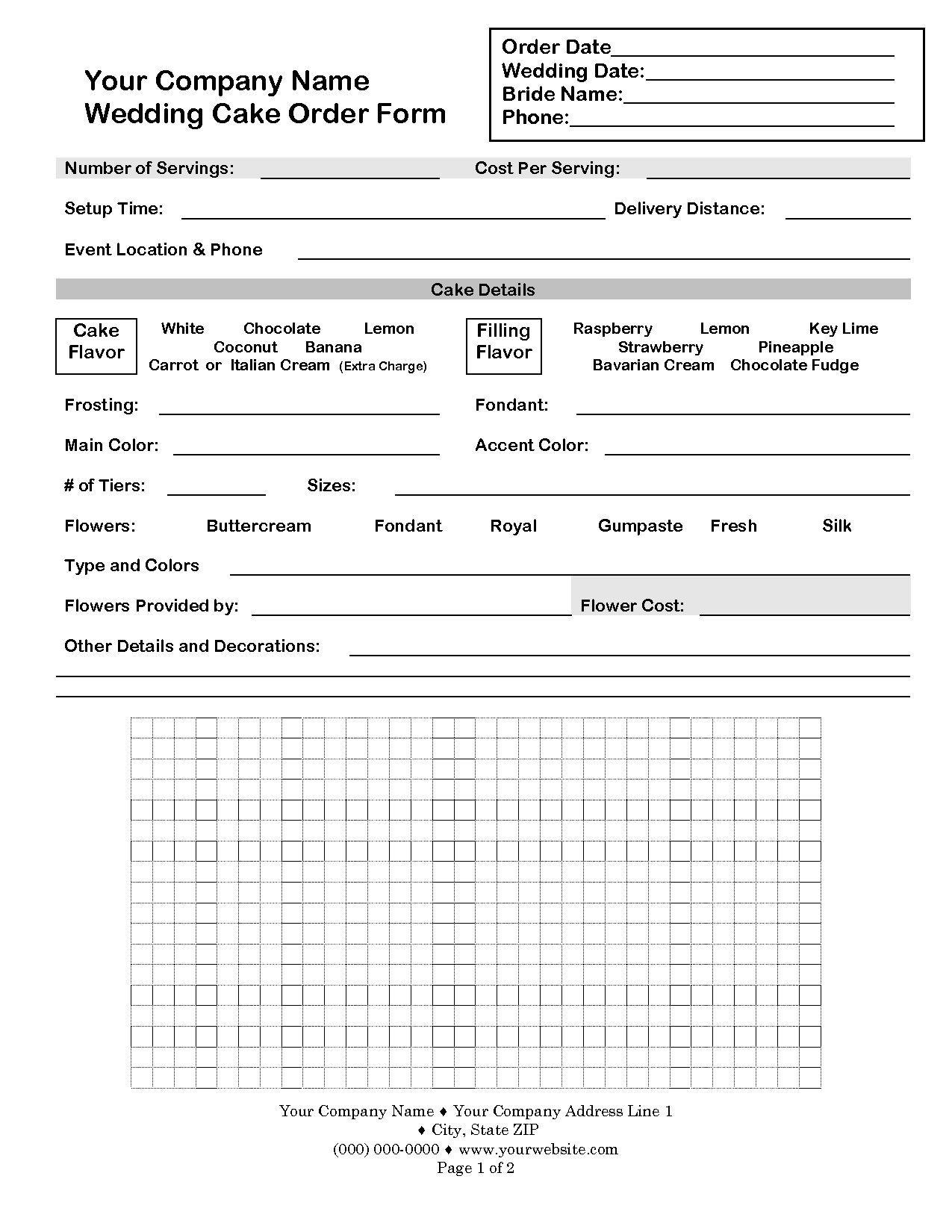 cake order contract | CakeBoss Sample Contract | CAKE ORDER FORMS ...