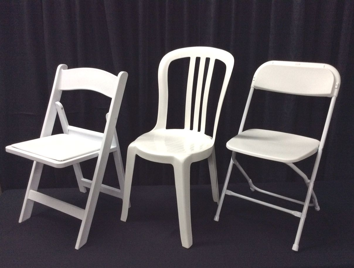 Here Are All White Chairs For Special Event Or Wedding 1 Our White Resin Folding Chair W Padded Seat White Wood Chair Look 2 Our Folding Chair Chair Table