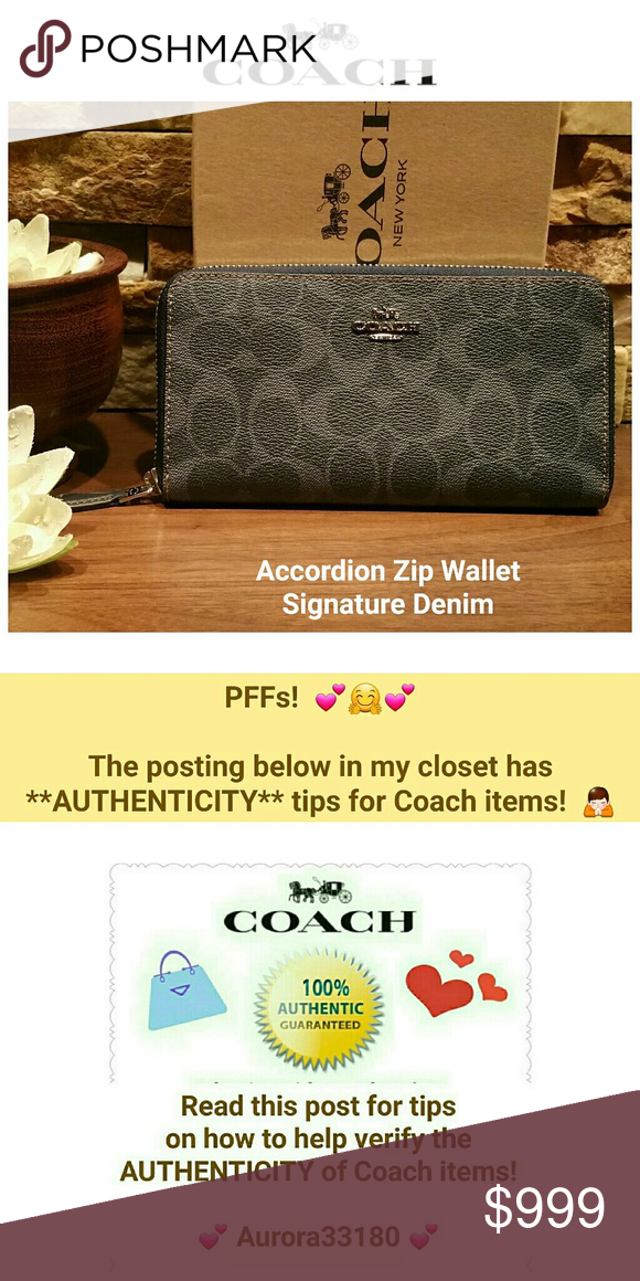 info for 329ef a86a0 NEW Coach Signature Accordion Zip Wallet NEW w/tag, Care ...