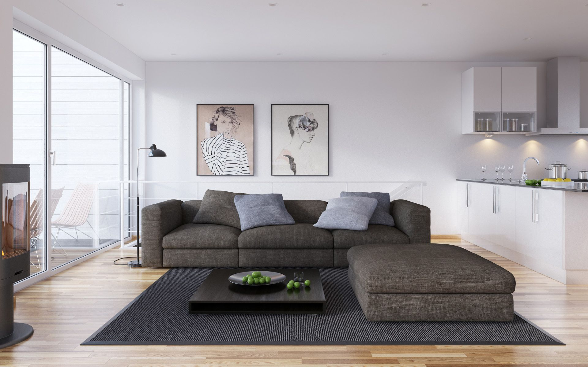 Contemporary modern style white living room decor with ...