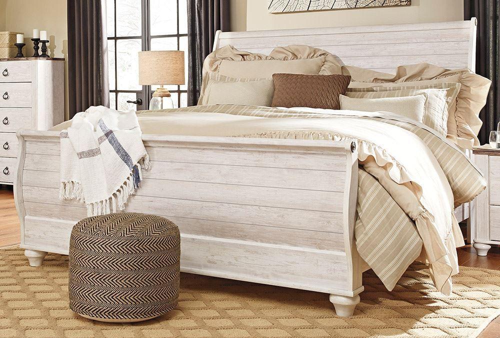 Willowton King Sleigh Bed Set King sleigh bed, Bedding