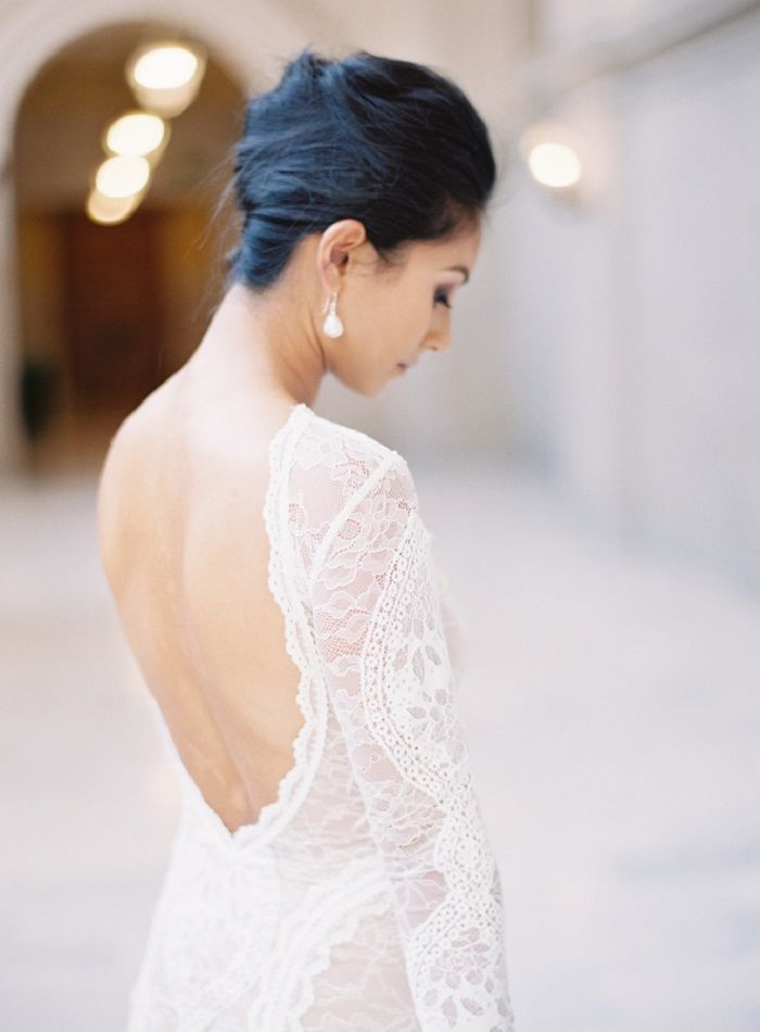 Lace wedding dresses with sleeves + backless | itakeyou.co.uk #weddingdress #longsleeves #backless