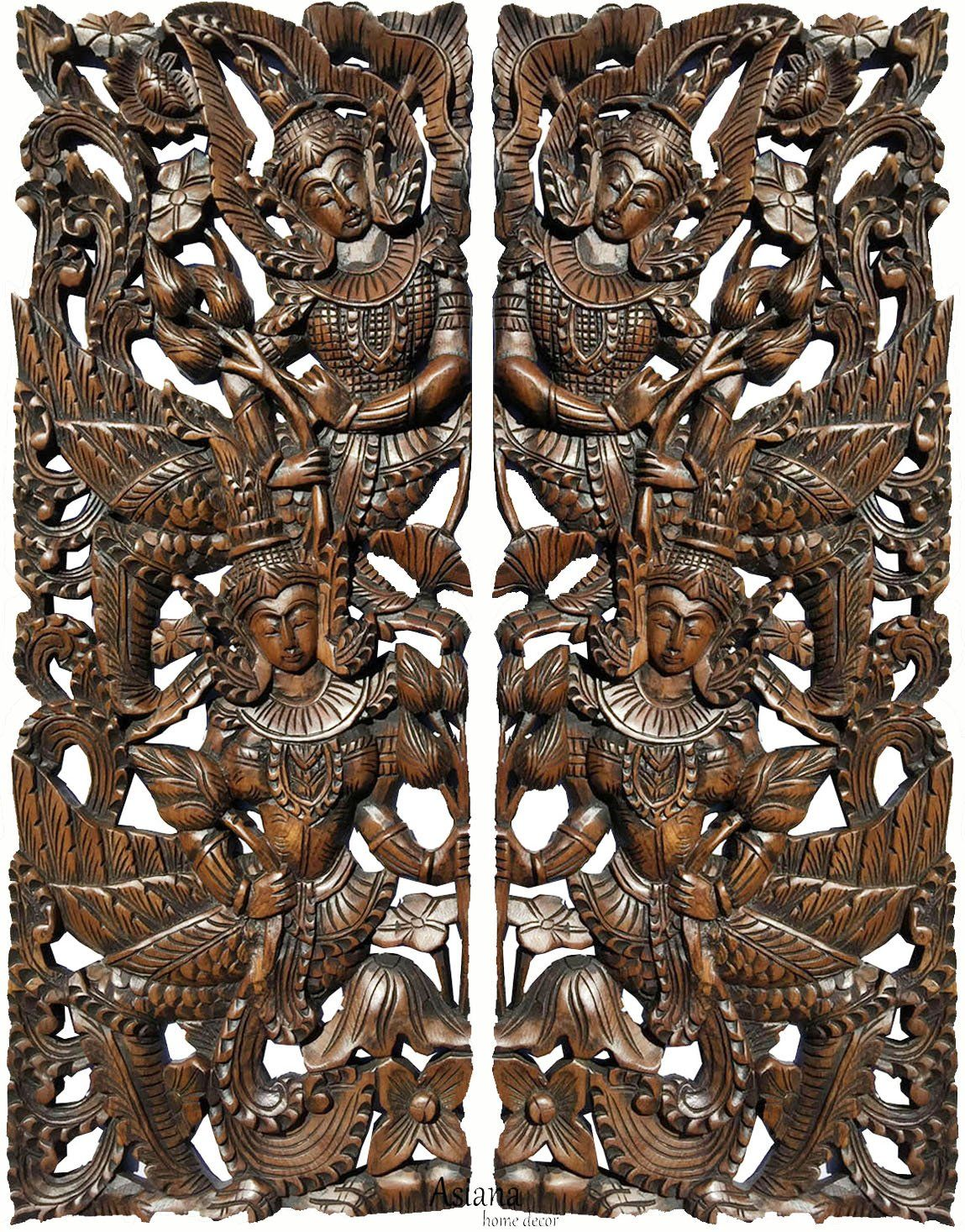 Thai figure with lotus carved wood wall art panels large carved