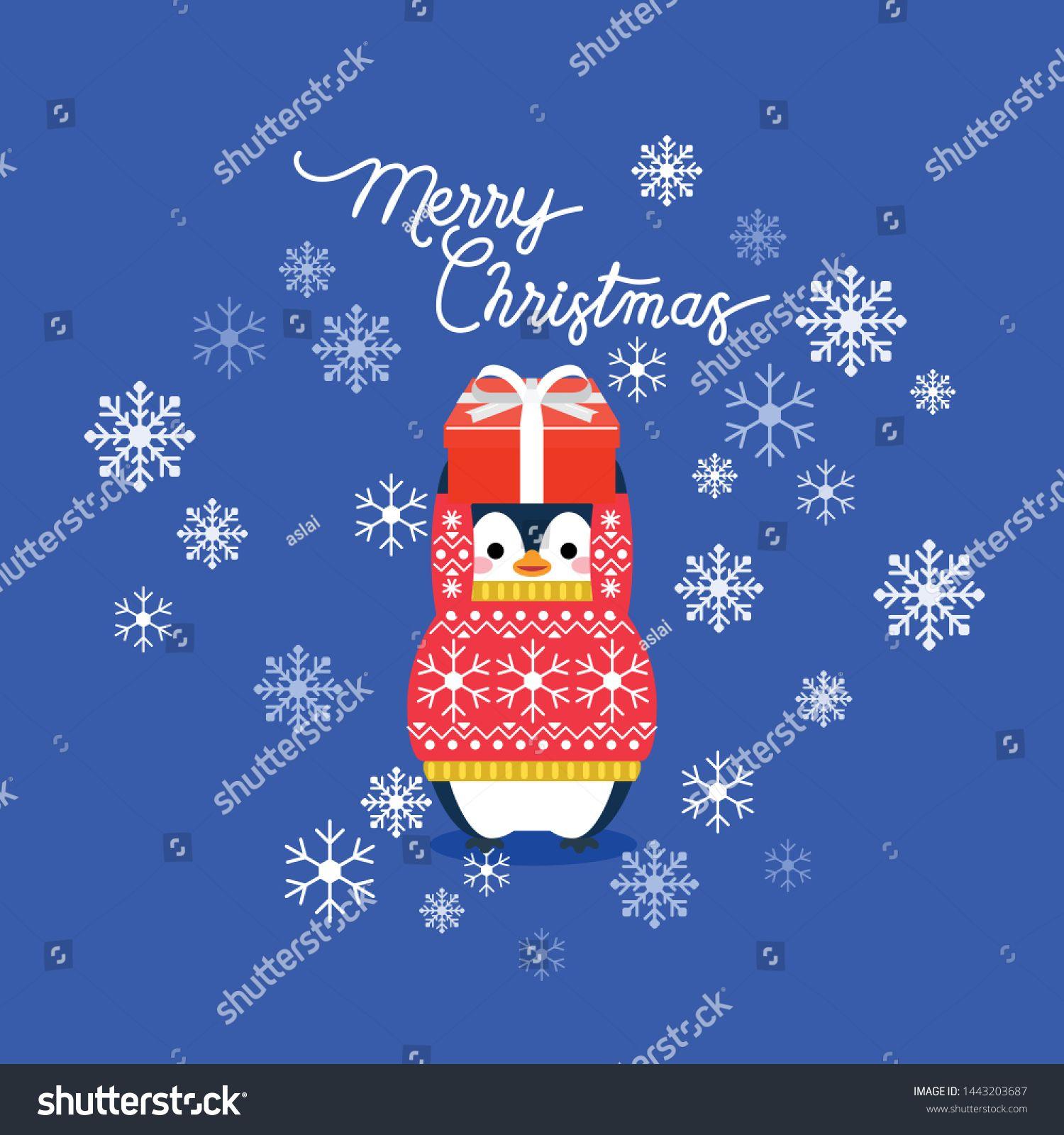 Vector holiday Christmas greeting card with cartoon